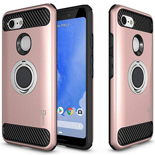 Accent Three Roses - CoverON RingCase Series Google Pixel 3 Case, Protective Dual Layer Phone Cover with Carbon Fiber Style Accents for Google Pixel 3 - Rose Gold
