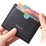 Women's RFID Small Leather Bifold Pocket Wallet Easy Access Card case Ladies Mini Coin Purse With ID Window Crosshatch Black