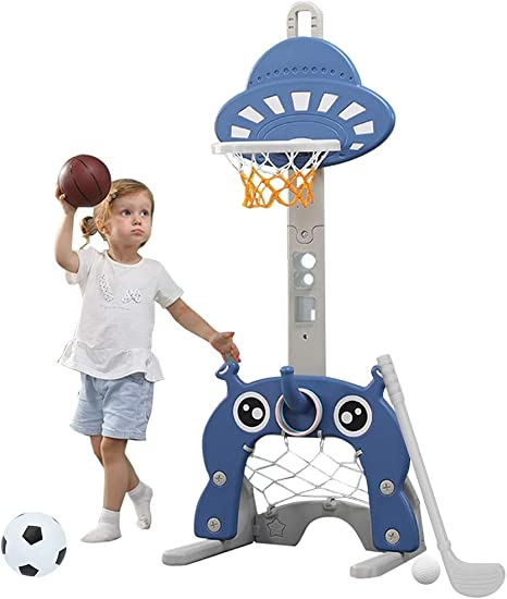 MOPAI Ball Sports 4 In 1 Adjustable Basketball Hoop Stand With Basketball//Ring Toss//Soccer//Goal Spaceship ,Outdoor Indoor Basketball for 3-6 Years Old and up Toddler Baby Sports