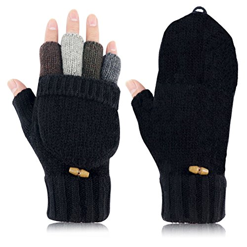 Knit Mittens Winter Gloves Wool Warm Gloves Fingerless Gloves with Mittens Cover Cap (Black) by Kay Boya (Image #2)