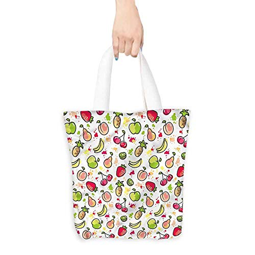 Tote bag,Fruits Watercolor Pear Artistic,Canvas Grocery Shopping Bags,16.5