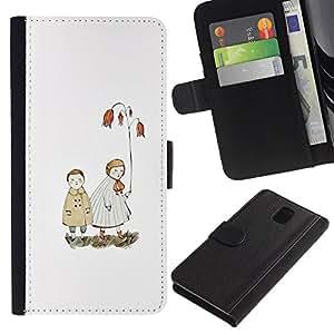 Paccase / Billetera de Cuero Caso del tirón Titular de la tarjeta Carcasa Funda para - White Pastel Sea Love Couple - Samsung Galaxy Note 3 III N9000 N9002 N9005