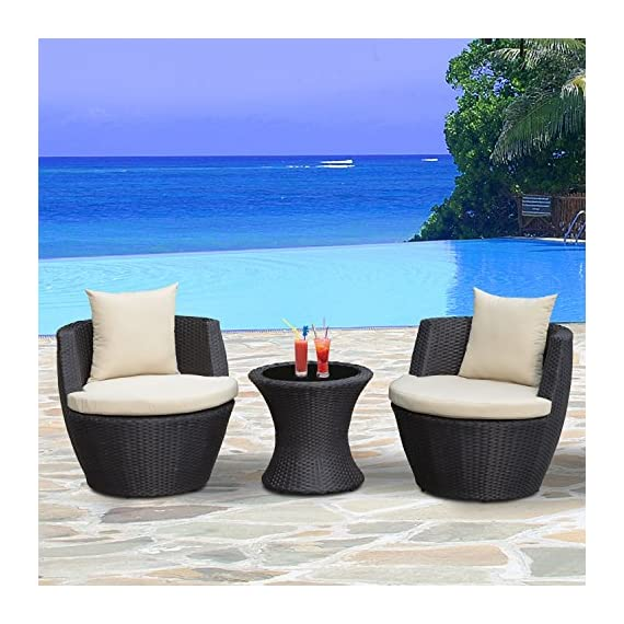 Outsunny Outdoor 3 Piece Patio Rattan Nesting Chair Conversation Set- Dark Brown - ✅SPACE SAVING DESIGN: The rattan furniture set includes 2 single chairs and 1 tea table. This set can be stored away in a large vase shape, bringing space-saving convenience. ✅CUSHION COMFORT: The set includes 2 seat cushions and 2 back cushions. The high-density sponge or PP cotton in the cushion provides added support and superior comfort. Made of water-resistant polyester, the zippered cushion covers are removable for easy cleaning. ✅WEATHER RESISTANT: Compared with traditional rattan material, PE rattan is more practical for its water resistant and UV resistant. It is of easy maintenance and ideal for outdoor space. - patio-furniture, patio, conversation-sets - 51JLtAYfatL. SS570  -