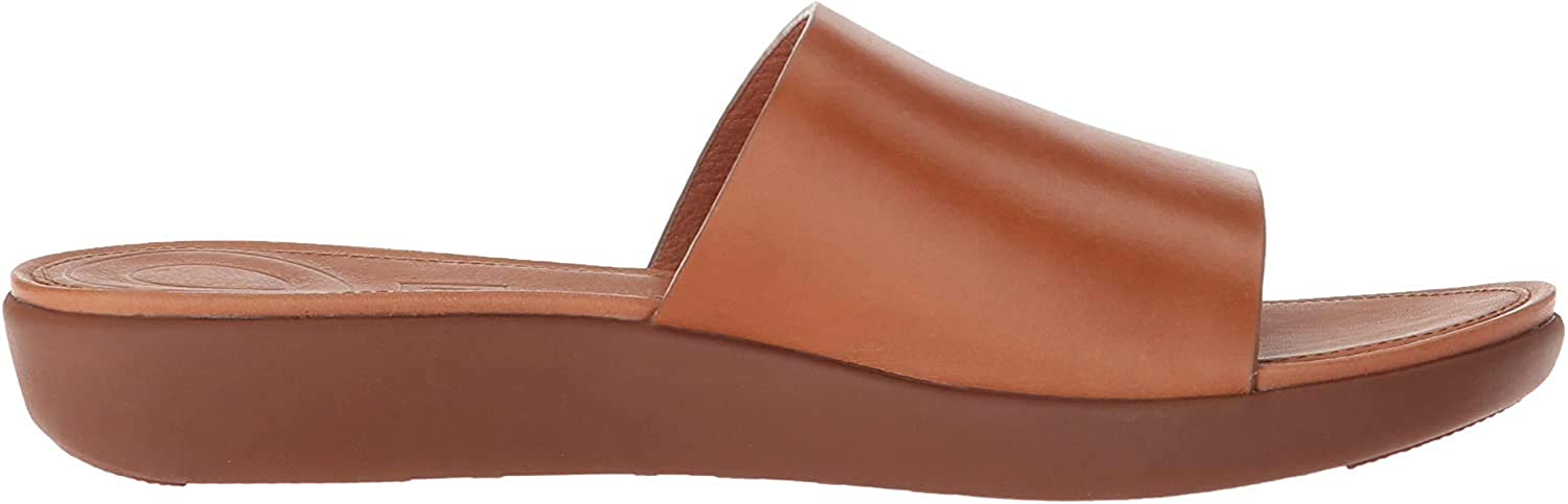 FitFlop Sola Slides-Leather, Sandalias con Punta Abierta para Mujer