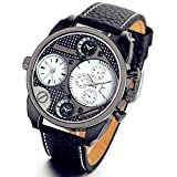 Lancardo Casual Analog White Metal Bezel Four Black Sub-dials Men Sport Watch with Gift Bag