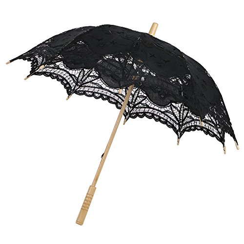 (ESHOO Vintage Cotton Lace Parasol Umbrellas for Bridal Wedding Party Decoration Photo Props Lady Costume Accessory)