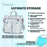 Premium Designer Diaper Bag by Liname - BONUS Changing Pad & Adjustable Shoulder