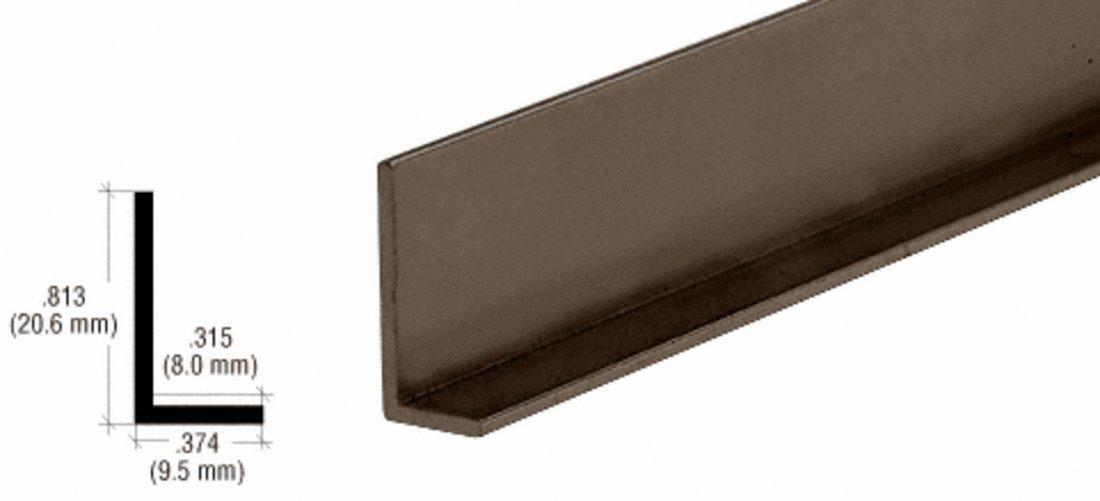 CRL Dark Bronze Aluminum 3/8'' L-Bar Extrusion - 12 ft Long