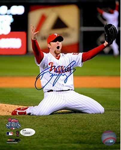 Brad Lidge Phillies Signed 2008 World Series Last Out 8x10 Photo JSA 136757