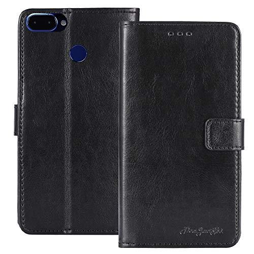 TienJueShi Black Book Stand Premium Retro Business Flip Leather Protector Phone Case for Archos Core 60S 6 inch Cover Etui ()