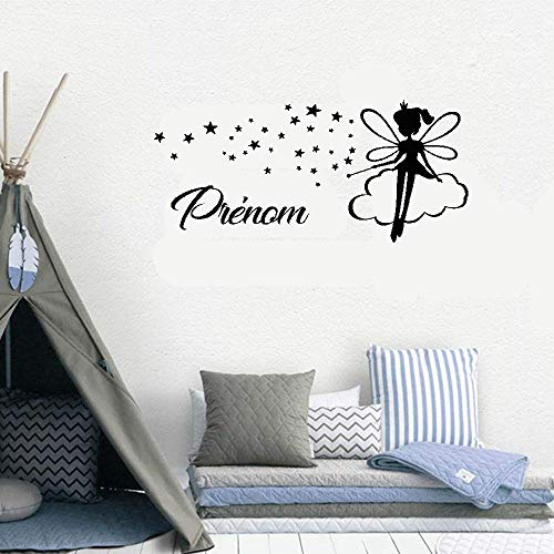 Quotes Wall Sticker Mural Decal Art Home Decor Personalized Name with Fairy Stars for Girls Room Nursery Kids -
