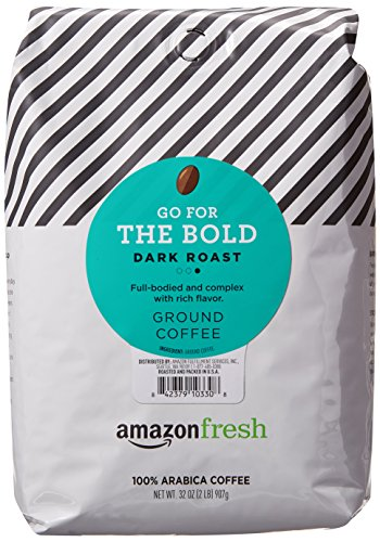 (AmazonFresh Go For The Bold Ground Coffee, Dark Roast, 32 Ounce)