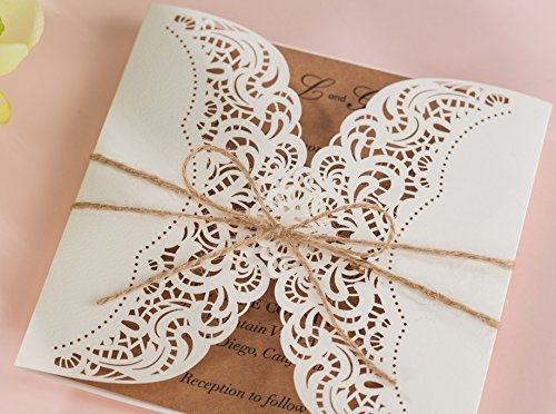 Wishmade 100x Laser Cut Invitations Cards Kit With Rustic Rope For Wedding Party Birthday Occasion AW7512 by Wishmade (Image #7)