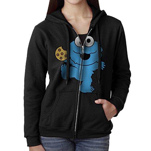 Women Children's Television Show Nom Nom Nom Cookie Monster Hoodie Sweatshirt Black (Cookie Monster Headband)
