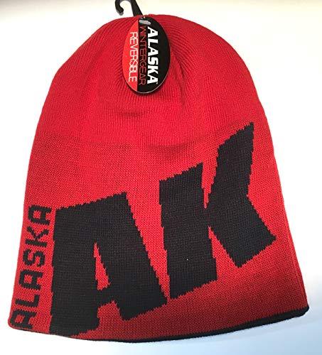 (Alaska Beanie Hat Skull Reversible Winter-Gear Knit Stocking Hat Red/Navy)