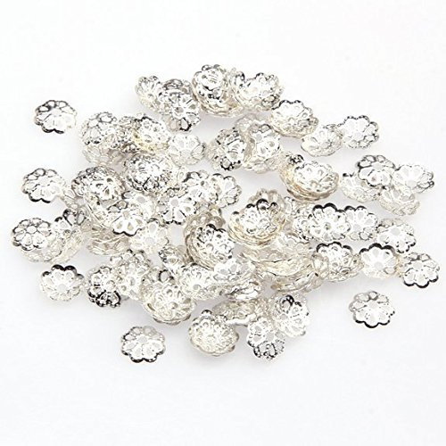 (Femitu Beautiful Bead 6mm Silver Tone Flower Bead Caps for Jewelry Making (About 500pcs))
