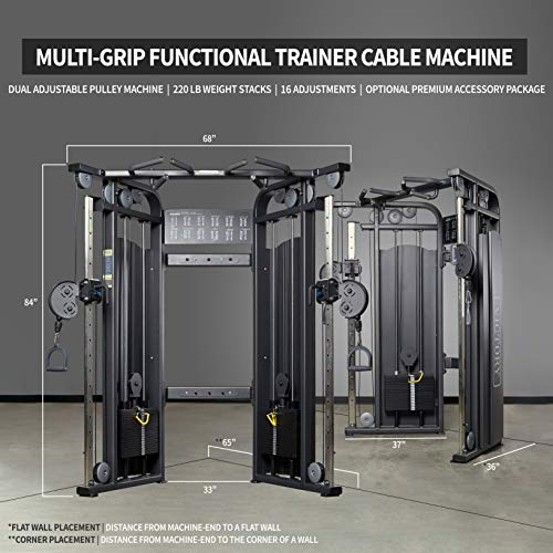 REP FITNESS FT-5000 Multi-Grip Functional Trainer Cable Machine, Dual Adjustable Pulley Machine with 220 lb Weight Stacks and 16 Adjustments, with an Optional Premium Accessory Package