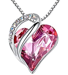 Heart Pendant with Swarovski Crystal Birthstone