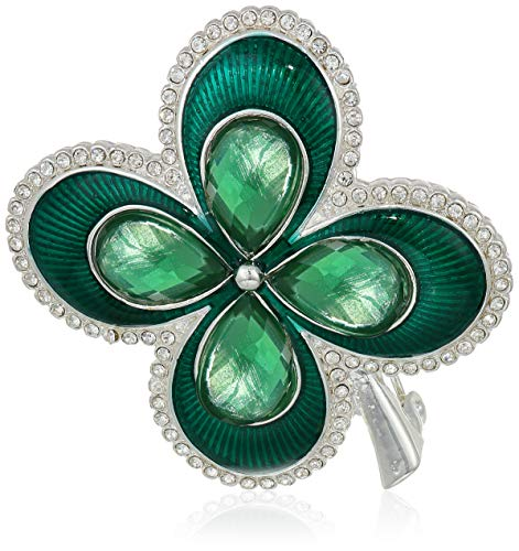 - Napier Boxed Four Leaf Clover Brooches and Pin, Green, 0