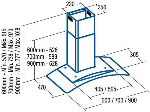 CATA C GLASS 700 400 m³/h De pared Acero inoxidable - Campana (400 m³/h, Canalizado/Recirculación, E, E, D, 62 dB): Amazon.es: Grandes electrodomésticos