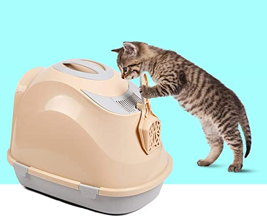 Wcx Bandeja de Basura para Gatos con Aseo para Mascotas y cúpula, fácil de Limpiar para su Gato pequeño/Mediano (Color : Beige): Amazon.es: Productos para mascotas