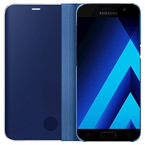 Galaxy A5 2017/A520 Funda,Grandcaser Clear Completo View Flip Funda Carcasa con Función Kickstand[Sleep/Wake Función] Ultra Delgado Translúcido Espejo Smart Cover para Samsung Galaxy A5 2017/A520 5.2 Azul