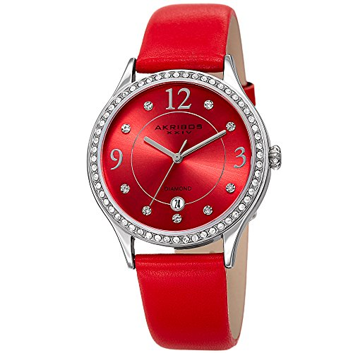 - Akribos XXIV Women's Quartz Diamond & Swarovski Crystal Silver-Tone and Red Leather Strap Watch - AK1011RD