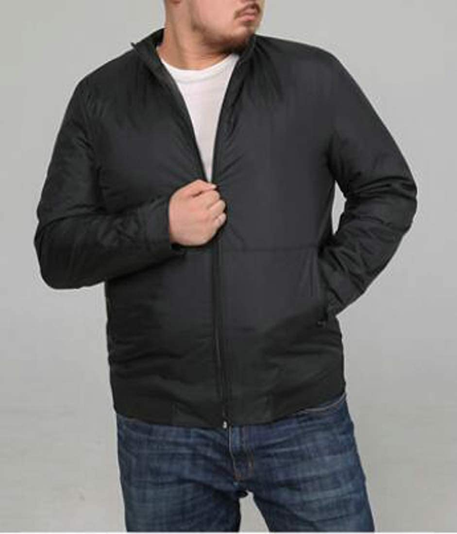 Pluszing Mens Stand Collar Jacket Thicken Zip Big and Tall Quilted Outwear Parkas Coat