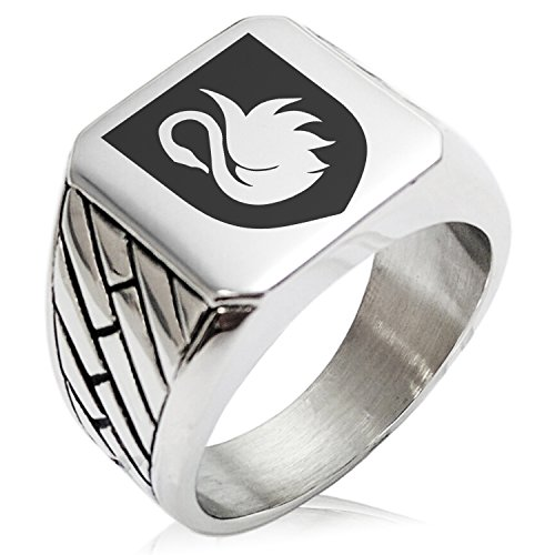 Two-Tone Stainless Steel Swan Harmony Coat of Arms Shield Engraved Geometric Pattern Biker Style Polished Ring, Size 13 by Tioneer