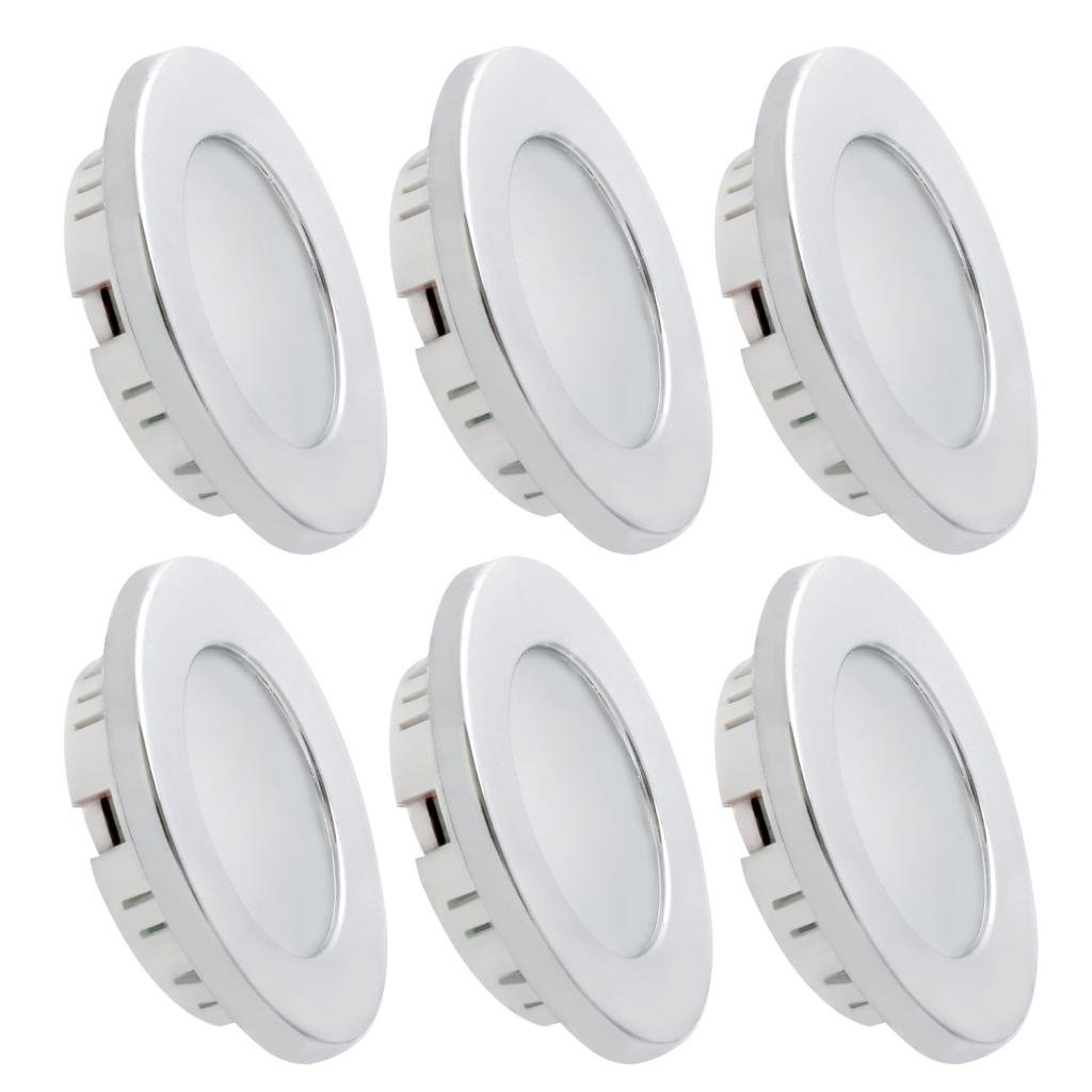 Dream Lighting LED Recessed Ceiling Light for 12volt DC Automotive Interior, Warm White, Silver Bezel, Pack of 6 by Dream Lighting