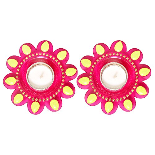 Christmas Decorations Set of 2 Diyas Colorful Acrylic Diya Oil Lamps Hand Crafted with Studded Stones Traditional Pink Color Votive Candle Tea Light Holders Home Festive Decorations by The Indian Storeroom