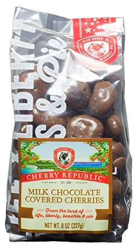 Cherry Republic Chocolate Cherries - Authentic and Fresh Chocolate Covered Cherries Straight from Michigan - Milk Chocolate, 8 Ounces (Washington Wine Gifts)