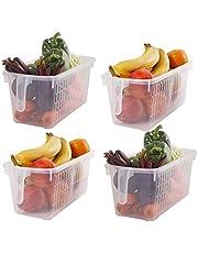 Kurtzy Almacenamiento para Frigorífico (4 Piezas) - Cestas de Refrigerador con Mango para Organizar Estantes, Alacenas, Baños y más (32x15x13.5 cm)