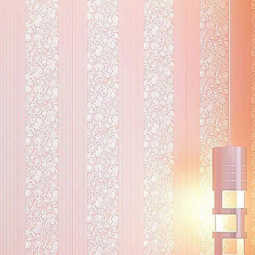 Embossed Wallpaper, 3D European Damascus Stripe PVC Wall Sticker Embossed Bedroom Wallpaper (Light Pink)