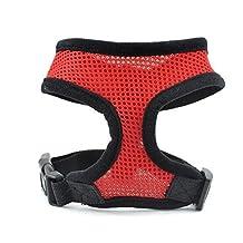Gabkey Pet Dog Mesh Harness Pets LED Vest LED Pet Net Cloth Chest Straps Red Medium Size