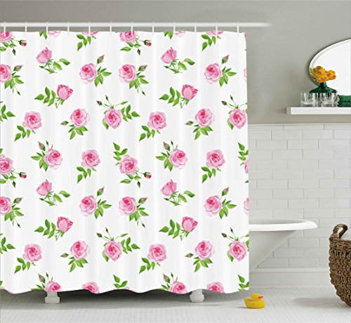 - Ambesonne Vintage Shower Curtain, Spring Season Little Flowers Roses with Leaves Classic Image, Fabric Bathroom Decor Set with Hooks, 70 Inches, Light Pink White and Lime Green