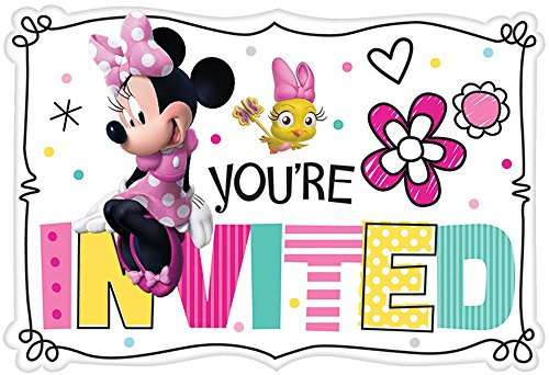 Amscan Minnie Mouse Happy Helpers Invitations (8 ct),Multi-colored,One Size -