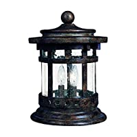 Maxim 3132CDSE Santa Barbara Cast 3-Light Outdoor Deck Lantern, Sienna Finish, Seedy Glass, CA Incandescent Incandescent Bulb , 60W Max., Damp Safety Rating, Standard Dimmable, Frosted Glass Shade Material, Rated Lumens