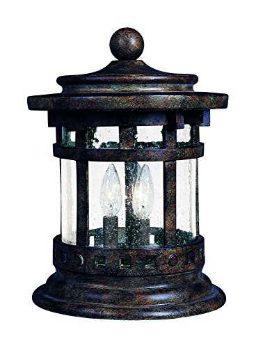 Maxim 3132CDSE Santa Barbara Cast 3-Light Outdoor Deck Lantern, Sienna Finish, Seedy Glass, CA Incandescent Incandescent Bulb , 60W Max., Damp Safety Rating, Standard Dimmable, Frosted Glass Shade Material, Rated Lumens by Maxim Lighting