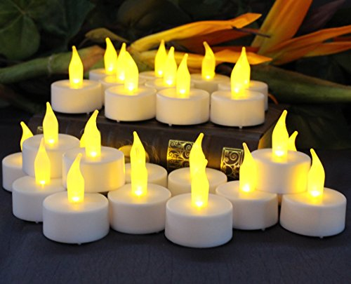 Flameless Tea Light Candles by LED Lytes, 24 Amber Yellow Flickering Faux Tealights, Battery Operated Electric Lights, Fake Votive candle Tea Light for Weddings, Halloween Pumpkins and Parties