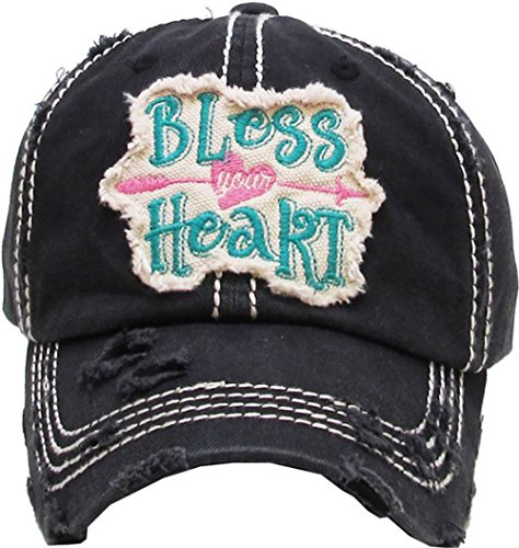 Kbethos Trading Women's Bless Your Heart Vintage Baseball Hat Cap (Black/Green) -