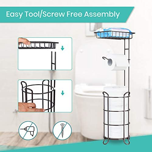 Toilet Paper Holder Stand Tissue Paper Roll Dispenser with Shelf for Bathroom Storage Holds Reserve Mega Rolls-Bronze