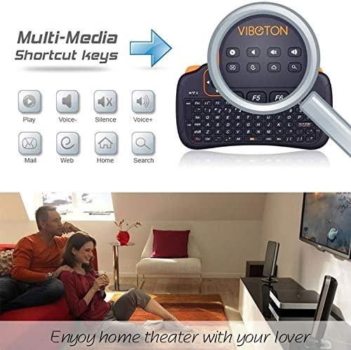 Pad Support Auto Sleep and Auto Wake Mode Android//Google TV Box PS3 Xbox360 HTPC//IPTV Black HUFAN S1 Air Mouse 83-Keys QWERTY 2.4GHz Mini Rechargeable Wireless Keyboard with Touchpad for PC