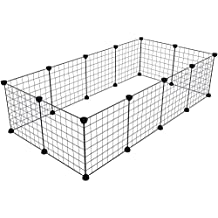 Tespo Pet Playpen, Small Animal Cage Indoor Portable Metal Wire Yard Fence for Small Animals, guinea pigs, rabbits Kennel Crate Fence Tent, Black 12 Panels