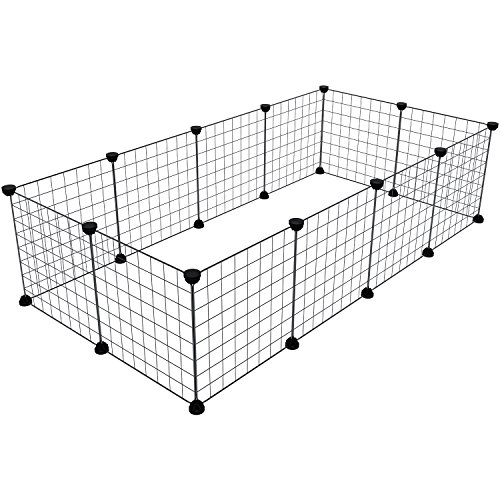 Animal Pet Playpen Small (Tespo Pet Playpen, Small Animal Cage Indoor Portable Metal Wire Yard Fence for Small Animals, guinea pigs, rabbits Kennel Crate Fence Tent, Black 12 Panels)