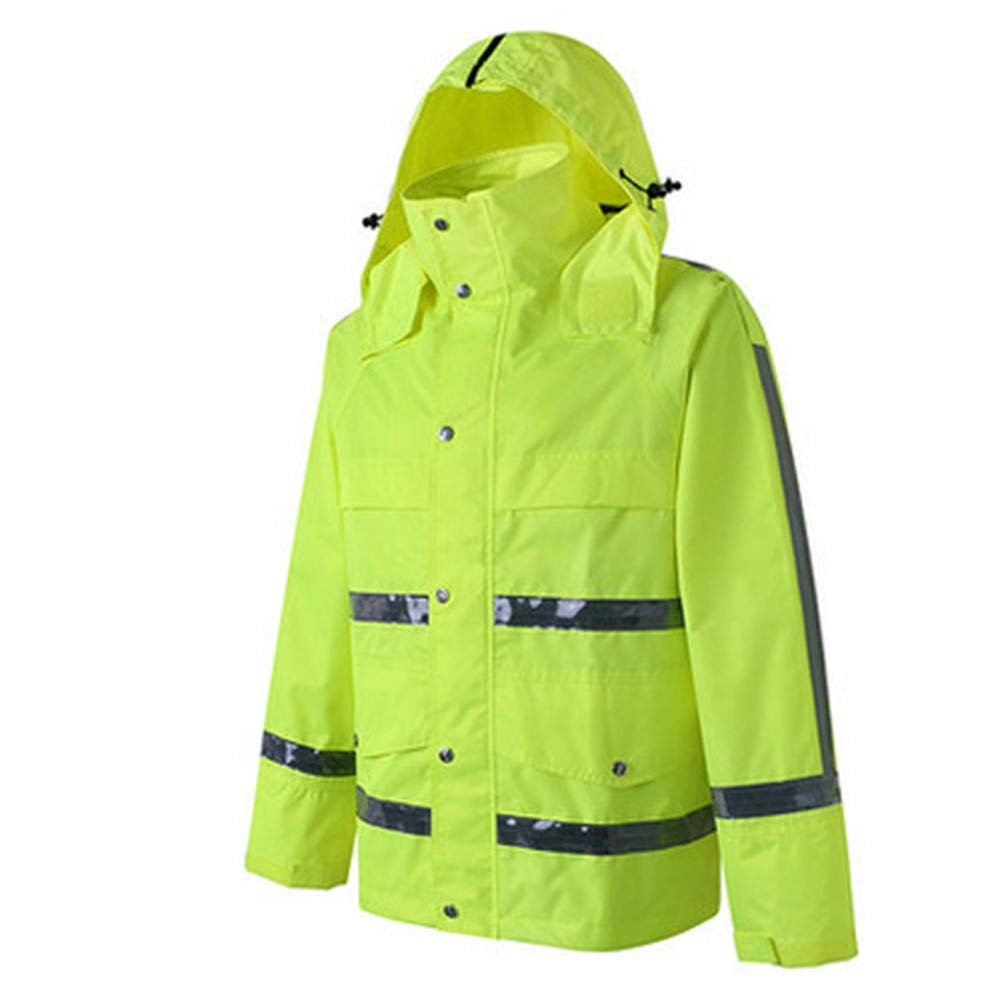 GSHWJS- trash can Waterproof Rain Jacket and Pants, Reflective Safety Raincoat Hooded Poncho Set, Green Reflective Vests (Size : XL) by GSHWJS- trash can (Image #1)