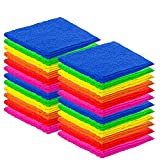 DecorRack 24 Pack Kitchen Wash Cloth, Small Towel, 100% Cotton, 12 x 12 Inch Colorful Dish Cloth, Perfect Cleaning Cloth for Washing Dishes, Kitchen, Bar, Counter and Car, Assorted Colors (Pack of 24)