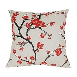 Pillow Perfect Flowering Branch Floor Pillow, 24.5-Inch, Beige/Red