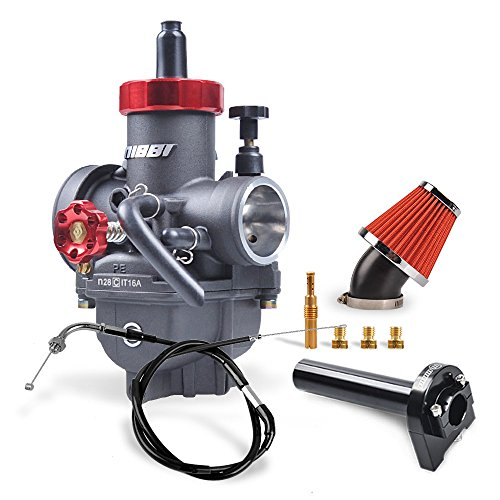 NIBBI Carburetor Kit Anodicoxidation Treatment PE28MM Adjustable length 95CM Throttle Line Handlebar 48MM Intake Air Filter Fit 150-250CC Motorcycle Atv Dirt bike Honda Yamaha Suzuki Kawasaki SSR CG