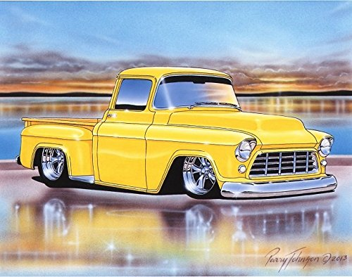 1955 Chevy 3100 Stepside Pickup Hot Rod Truck Art Print Yellow 11x14 Poster (Old Classic Chevy Trucks)